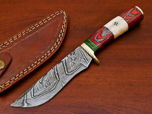 HAND FORGED DAMASCUS STEEL HUNTING KNIFE-HARD WOOD & CAMEL BONE HANDLE- PK-1196