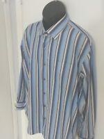 Tommy Bahama men's long sleeve shirt 100% cottom Blue/Brown Stripes