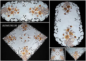 Gold Poppy tablecloth,table runner, doily with embroidered flowers and leaves