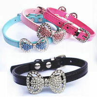New Dog Cat Puppy Rhinestone Bling Bow Collar PU Leather Pet Collars Kitten Gift