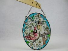 "AMIA GLASS SUNCATCHER 5.25"" X 7"" OVAL Cardinal Birds ~Hand-Painted ~Labels"