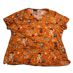Cherokee Halloween Scrub top 3XL Monster bash Party Witch Skeleton Ghost Cat