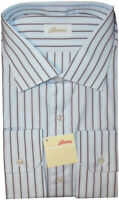 $695 NEW BRIONI LIGHT BLUE BROWN & WHITE STRIPE DRESS SHIRT 17.5 EU 44