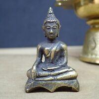 2464-VINTAGE THAI AMULET BRONZE STATUE BUDDHA NGAN WIN LOTTO MINIATURE AC NIKOM