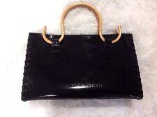 Samantha Thavasa Authentic Black Patent Leather Handbag With Bamboo Handles