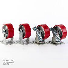 """5""""x2"""" Swivel Caster Polyurethane Wh Steel Hub Brake(2)Rigid(2)1000Lb ea Tool Box"""