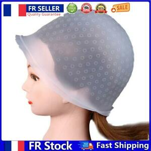 Professional Silicone Dye Hair Cap Needle Reusable Hat Styling Tool (White)