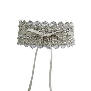 Women Dress Bowknot Faux Leather Lace Wide Decor Belt Girdle Waist Band Natural