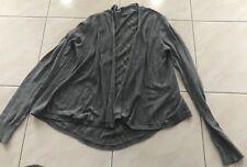Express Gray Long Sleeve Thin Knit Cardigan Sweater Sz S Slant Back Open Front