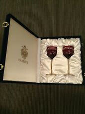 Faberge Holiday Wine Glasses, Pair In Case, Red Stemware