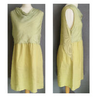 LAGENLOOK yellow green linen floaty dress Made in Italy womens UK 10 12 14