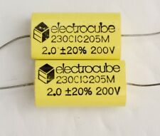 2pc electrocube 2uF 20% 200V Metallized Polyester Film Capacitor 230C Series