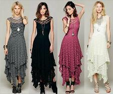 Women Bohemian Hippie Boho Sheer Lace Ruffled Slip Wedding Asymmetrical Dress