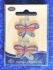 2pc Butterfly Fancy Multi-Colored Iron-On Patch Appliques Wrights 15% Metallic