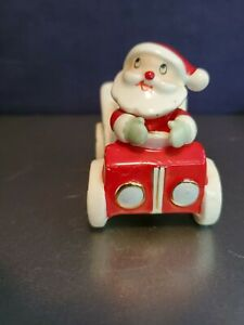 "VTG Holt Howard Ceramic Santa's Car-Shaped Candleholder 3"" Tall"
