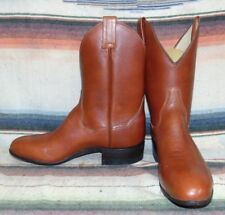 Womens Vintage Sanders Boot Co. Brown Leather Shorty Cowboy Boots 9 B NEW in Box