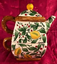 3-pc interlocking/stacking handpainted ceramic mini teapot w/lemons & greenery