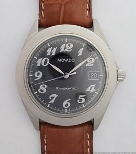 Mens Movado Kingmatic Automatic 84-D7-875 Sapphire Crystal Steel Watch W/ Date