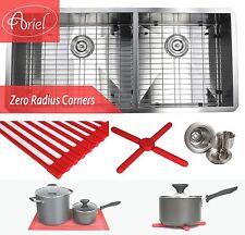 """Ariel 42"""" Undermount Stainless Steel Zero Radius Double Bowl Kitchen sink Combo"""