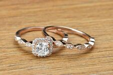 2.00Ct D/Vvs1 Diamond Engagement Wedding Band Bridal Ring Set Rose Gold Plated