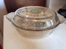 Vtg* Fire King*Georges Briard Casserole* 1.5 qt* Gold* Butterfly design, signed