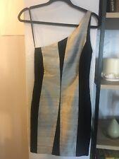 RAG AND BONE BLACK WITH GRAY STRIPES SILK DUPIONI DRESS