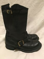 Vintage Carolina Black Buckle Engineer Boots 8 Motorcycle Rider Stack Heel 902