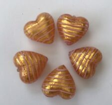 Five Gold and Pink striped 18mm Murano Glass Hearts