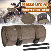 Universal Motorcycle Front Fork Tool Bag Roll Barrel Pouch Luggage Leather Brown