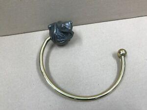 Turnstyle Designs Frog Loop Ring Bathroom Towel Holder Designer Silver / Gold