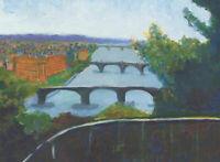 Edith Birkin (1927-2018) - 20th Century Oil, Three Bridges, River Vltava Prague