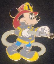 MICKEY FIREMAN HOLDING HOSE DISNEY PIN, #1 ON SHIELD ON HAT