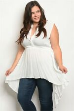 Womens Plus Size Ivory White Green Long Babydoll Top 2XL NWT