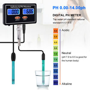 2 in 1 Online PH and Salinity Monitor PH Salinity Meter Water Quality Tester