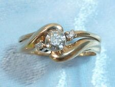 10K Yellow Gold Wedding Set, with a 2mm & 2, 1.6mm Diamonds, TCW .12,  Size 7
