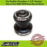 "FSA The Pig Bike Threadless 1-1/8"" Headset Heavy Duty BMX MTB Road Bicycle-Black"