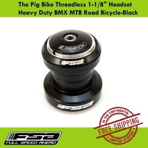"FSA The Pig Bike Threadless 1-1/8"" Headset Heavy Duty BMX MTB Road Bicycle-Black"
