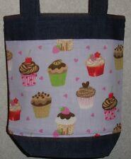 NEW Handmade Small Cupcake Baker Lavender Background Denim Tote Bag