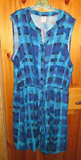 NEW Womens Plus 3X Blue Patterned Sleeveless Rayon Shirt Dress knee length NWT
