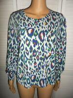 Beautiful Nine West size S blue print long sleeve blouse women ladies NWT