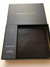 NEW IN BOX HOWICK BROWN 100% GRAINED LEATHER CARD WALLET/BIFOLD