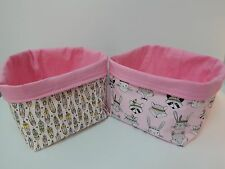 Fabric Nursery Baskets -Tribal Bunnies Foxes Badgers Feathers -  Pink - Cotton