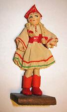 "Miniature 5"" Antique Cloth Doll with Blonde Braids"