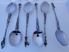 More details for antique continental silver set of 6 apostle tea coffee spoons saint 108.1g