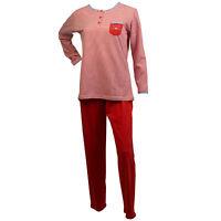 Mujer 100% Algodón Rayas Pijama Top de Manga Larga para Mujer Pantalones Pijama
