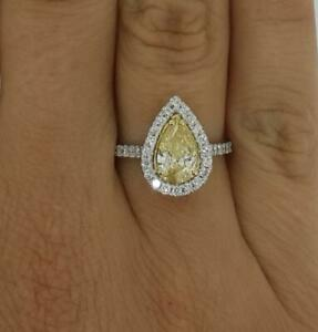 1.15 Ct Fancy Yellow Pave Halo  Pear Cut Diamond Engagement Ring SI1 Canary