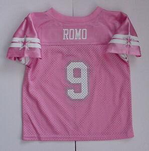 NWT! Tony Romo 9 Jersey Toddler Girls Dallas Cowboys Pink Glit MESH Sz 2T 3T 4T