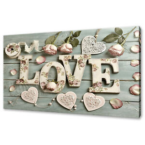 SHABBY CHICK LOVE HEARTS VINTAGE ROSES FLOWERS CANVAS PRINT WALL ART PICTURE