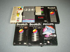 7 VHS video cassette tapes 3h 180 min Little used, wiped = Blank + sleeves