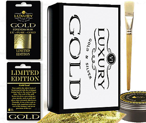 NEW 40 24k  sheets Gold Leaf Kit  Gold  sheets 15ml Adhesive Brush. Gilding,
